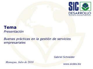 Tema Presentaci�n Buenas pr�cticas en la gesti�n de servicios empresariales
