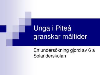 Unga i Piteå granskar måltider