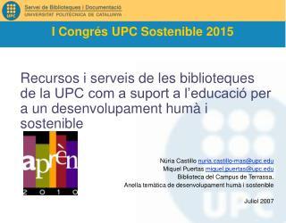 I Congrés UPC Sostenible 2015