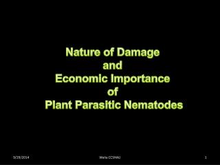 Nature of Damage  and  Economic Importance  of  Plant Parasitic Nematodes
