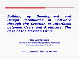 José Luis Sampedro Universidad Autónoma Metropolitana, Xochimilco