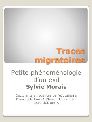 Traces migratoires