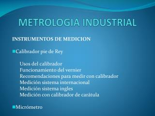 METROLOGIA INDUSTRIAL