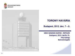 TORONY HAVÁRIA Budapest, 2012. dec. 7 – 8.