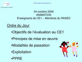 04 octobre 2006 ANIMATION Enseignants de CE1   Membres du RASED