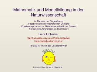 Mathematik und Modellbildung in der Naturwissenschaft
