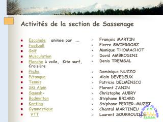 Activités de la section de Sassenage