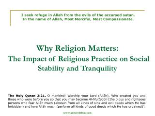 Why Religion Matters: The Impact of Religious Practice on Social Stability and Tranquility