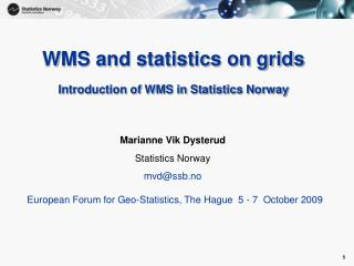 WMS and statistics on grids Introduction of WMS in Statistics Norway