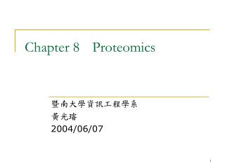 Chapter 8	Proteomics