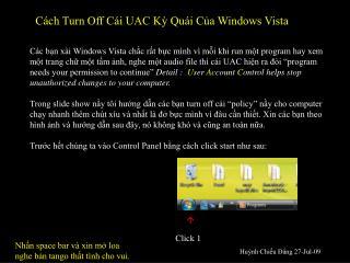 Cách Turn Off Cái UAC Kỳ Quái Của Windows Vista