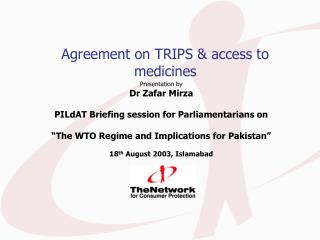 Agreement on TRIPS & access to medicines