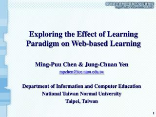 Exploring the Effect of Learning Paradigm on Web-based Learning