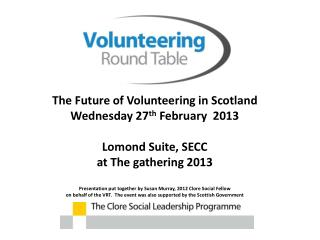 Volunteering in Scotland - the facts  now