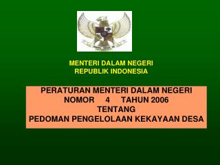 MENTERI DALAM NEGERI REPUBLIK INDONESIA