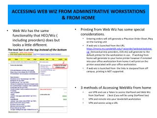 ACCESSING WEB WIZ FROM ADMINSTRATIVE WORKSTATIONS  & FROM HOME