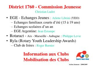 District 1760 - Commission Jeunesse Christian Ludot