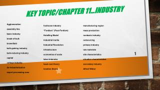 Key Topic/Chapter 11…Industry