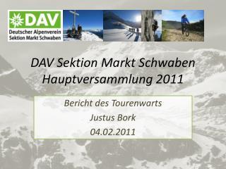 DAV Sektion Markt Schwaben Hauptversammlung 2011