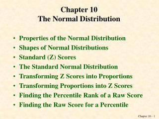 Chapter 10 The Normal Distribution