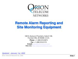 Remote Alarm Reporting and Site Monitoring Equipment