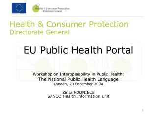Health & Consumer Protection  Directorate General