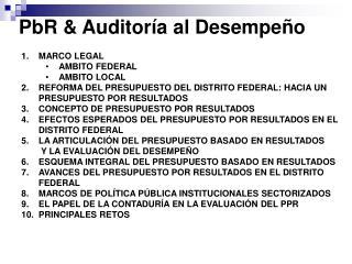 PbR & Auditoría al Desempeño