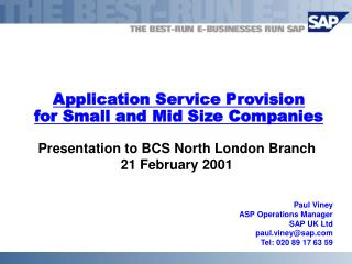 Application Service Provision for Small and Mid Size Companies