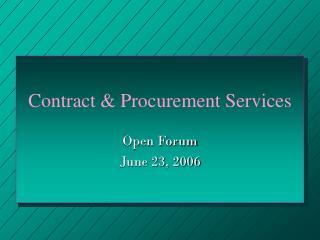 Contract & Procurement Services