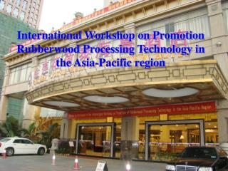 International Workshop on Promotion Rubberwood Processing Technology in the Asia-Pacific region