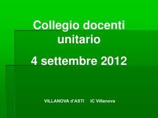 Collegio docenti unitario 4 settembre 2012