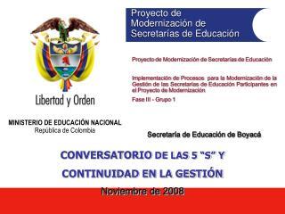 Proyecto de  Modernizaci�n de  Secretar�as de Educaci�n