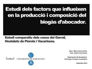 Estudi dels factors que influeixen en la producció i composició del biogàs d'abocador .