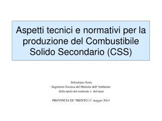 Aspetti tecnici e normativi per  la produzione del  Combustibile Solido Secondario  (CSS)