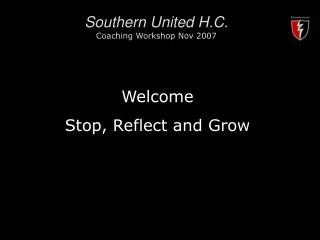 Southern United H.C. Coaching Workshop Nov 2007