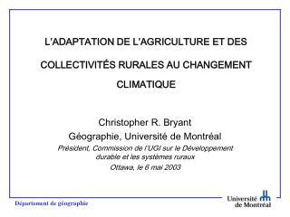 L'ADAPTATION DE L'AGRICULTURE ET DES  COLLECTIVITÉS RURALES AU CHANGEMENT CLIMATIQUE