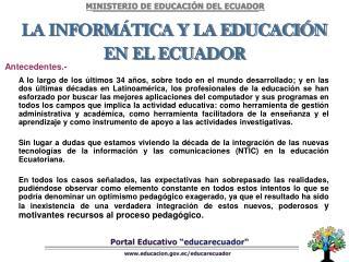 LA INFORM TICA Y LA EDUCACI N EN EL ECUADOR