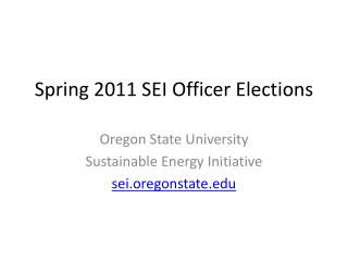 Spring 2011 SEI Officer Elections