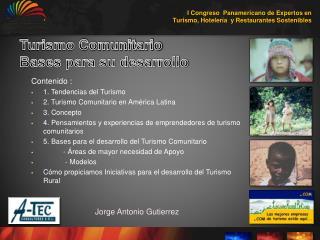 Turismo Comunitario  Bases para su desarrollo