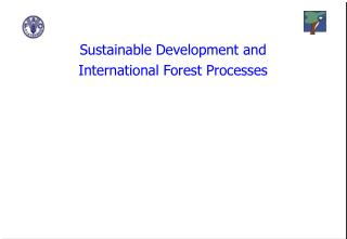 Sustainable Development and International Forest Processes
