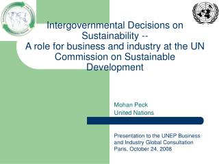 Mohan Peck United Nations Presentation to the UNEP Business and Industry Global Consultation