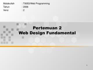 Pertemuan 2 Web Design Fundamental