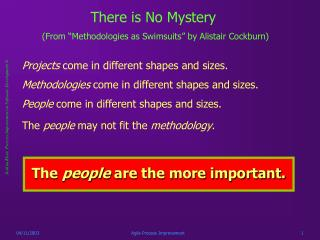 """There is No Mystery (From """"Methodologies as Swimsuits"""" by Alistair Cockburn)"""