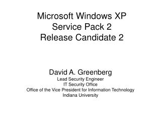 Microsoft Windows XP Service Pack 2 Release Candidate 2