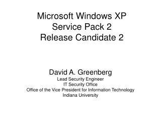 Microsoft Windows XP Service Pack 2 Release Candidate 2