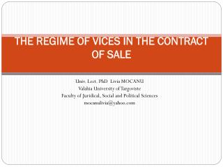 THE REGIME OF VICES IN THE CONTRACT OF SALE