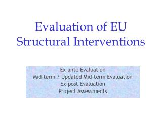 Evaluation of EU Structural Interventions