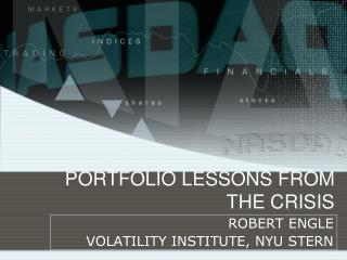 PORTFOLIO LESSONS FROM THE CRISIS