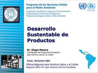 Dr. Diego Masera  Coordinador del Programa de Industria  para América Latina y el Caribe