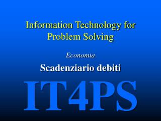 Information Technology for Problem Solving